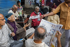 Good morning Kolkata (SaumalyaGhosh.com) Tags: kolkata morning calcutta paper age old adda gathering street streetphotography color colors newspaper