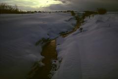 Warmth (threepinner) Tags: iwamizawa winter snow brook flow evening hokkaidou hokkaido northernjapan japan canon av1 nfd 28mm f28 negative iso100 selfdeveloped negaposidevelopment reversal 岩見沢 北海道 北日本 日本