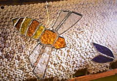 Bee, by me (flowergirlaaa) Tags: honeybee stainedglass madebyme smileonsaturday yellow honeycomb frame beekeeping heather beeswax craft homemade