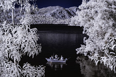Fishing Lake Jennings In Infrared (Bill Gracey 17 Million Views) Tags: composition fishing boat lakejennings lakeside ir infrared infraredphotography convertedinfraredcamera nature naturalbeauty water trees foliage hills recreationalarea