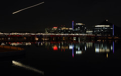 plane ride streak (ryry602) Tags: night nightshot nightshots longexposure lights streaks lightstreaks tempe tempetownlake az arizona lake bridge