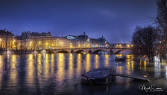 Night panorama of the Musée d'Orsay (marko.erman) Tags: paris city france seine river flood muséedorsay longexposure night lights sony outdoor cityscape riversbanks illumination water reflections architecture bridge pontroyal