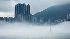 Navigating in the Mist (Wilson Au | 一期一会) Tags: victoriaharbour hongkong weather mist fog foggy sea ship buildings eos5dmarkiii ef2485mmf3545usm canon 維多利亞港 香港 overcast clouds cloudy mood spring