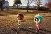Muichan dog walking🎵 (cute-little-dolls) Tags: muichan minimuichan ixtee ixdoll ixteedoll toy dog kawaii friends dogwalking park winter japan grumpy happy doll gashapon miniature monster