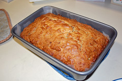Banana Bread Cooling On The Counter. (dccradio) Tags: lumberton nc northcarolina robesoncounty bread quickbread bananabread breadpan pan cooling kitchencounter indoors inside nikon d40 dslr food eat snack dessert sweet treat