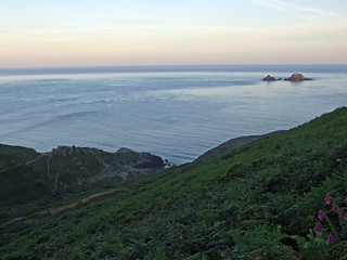 Cot valley, from coast path slightly inwards, looking seaward, early sunrise
