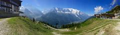 Panorama Mont Blanc range. Taken from La Flégère. (elsa11) Tags: aiguilleverte lesdrus legrépon aiguilledeblatière aiguilledumidi montblancmaudit montblanc dômedugoûter aiguilledegoûter chamonix panorama montblancrange hautesavoie auvergnerhonealpes france frankrijk mountains montagnes laflégère lindex