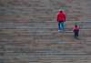 Exhausting climb (Alexander-_-Laz) Tags: russia moscow people parent father son child step stair wall abstract illusion red line parallel stone park