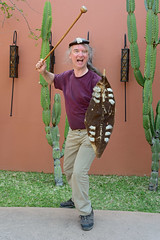 Club and Shield (naturalturn) Tags: man hat club weapon shield waldemar victoriafallsresort victoria falls resort livingstone zambia image:rating=5 image:id=208651