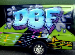 DBF van in Preston (Tony Worrall) Tags: buy sell bought photo onsale stock preston lancs lancashire city england northern uk update place location north visit area county attraction open stream tour country welovethenorth nw northwest britain english british gb capture outside outdoors caught shoot shot picture captured sign signage van graffiti words written music venue art artist streetart