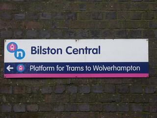 Bilston Central Tram Stop - sign - Platform for Trams to Wolverhampton