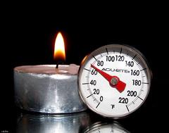 Fahrenheit 451 (Lisa Zins) Tags: macro macromondays macromonday monday lisazins january15 2018 thermometer candle fire fahrenheit canon sx150 acurite flame fahrenheit451 raybradbury myfavouritenovelfiction novel fiction interpretation author book 1953 degree