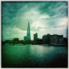 River Thames (firstnameunknown) Tags: iphoneography hipstamatic london river thames cityscape riverscape skyline water theshard sky clouds