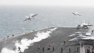 USS Theodore Roosevelt conducts flight operations.