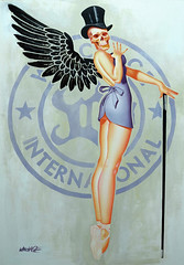 pettytheft4 (wreckage international) Tags: wreckageinternational wreckagepinup pinupart acrylic acrylicpainting painting advert advertisement petty georgepetty vintage retro death valkyrie tophat cane wings sexy