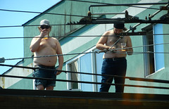 Fat Dudes drinking Beer (knightbefore_99) Tags: commercialdrive carfreeday sol sun candid fat ugly summer street party vancouver eastvan bc obese breast man disgusting beer yikes