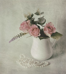 Roses and Pearls (Jazpix) Tags: ceramic jug white roses background pearls necklace pastelcolours pastels
