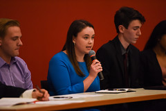 SGA Debates 2018-1 (dailycollegian) Tags: carolineoconnor sga debates hosted by collegian commonwealth honors college events hall event roots candidates for president vice trustee sarah nordberg