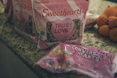 0210 Sweethearts conversation hearts on the counter