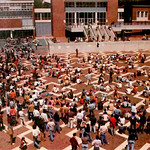 "Students gather on the Brickyard as they go ""on strike"" to oppose campus administration in the late 1970s."
