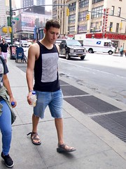 DSC03636 (Wheels Down) Tags: candid streetphotography hottie legs feet sandals shorts tanktop arms