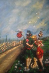 THREE TRAMPS (tomas491) Tags: handbag dog trees birds sky sunflowers fantasypainting acrylic tramps tramp sunny clouds hat sunlight