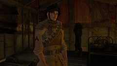 NCR Trooper (alexandriabrangwin) Tags: alexandriabrangwin secondlife 3d cgi computer graphics virtual world photography fallout 2 new vegas california republic trooper service rifle slung back ruined shack hut waiting dim light post atomic nuclear horror aftermath apocalypse amber glow tesla armor power bandolier bed skeleton