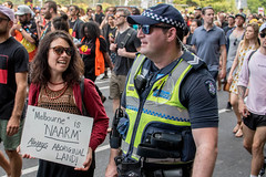 Melbourne 26th of January 2018 (stenaake) Tags: 26thofjanuary australiaday occupationday invasionday survivalday nationalday protest protesting melbourne downunder aussies aussie oz demonstration politics people gather street aboriginal aboriginals 2018 victoria change holiday protesters walking australians january 26 26th australia woman placard poster man police naarm