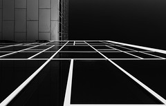 White Lines (Leipzig_trifft_Wien) Tags: building architecture blackandwhite bwphoto bnw lines glass windows modern contemporary rectangular geometry urban monochrome black white vanishing point pov perspective
