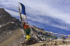 Blowing in the wind (tmeallen) Tags: prayerflags mountainpass mountains bluesky clouds snow saraks ladakh jammuandkashmir northernindia culture