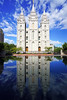 Salt Lake Temple reflecting in the pool, SLC, Utah (Andrey Sulitskiy) Tags: usa utah saltlakecity