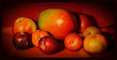 P1230220-1 - Mixed Fruit (dangle earrings) Tags: fruit mango apples plums kiwi stilllife dangleearings panasonicdmcgx8 clementine mixedfruit edible