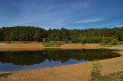 Bay on the pond (МирославСтаменов) Tags: russia moscowregion protvino pond sand reflection water pinery coast autumn