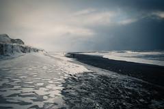 Black beach (johanna151) Tags: iceland island black beach nature sea water sand ice snow winter travel sky clouds
