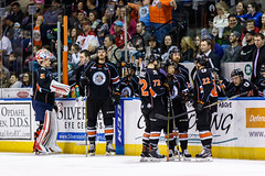 """Kansas City Mavericks vs. Florida Everblades, February 18, 2018, Silverstein Eye Centers Arena, Independence, Missouri.  Photo: © John Howe / Howe Creative Photography, all rights reserved 2018 • <a style=""""font-size:0.8em;"""" href=""""http://www.flickr.com/photos/134016632@N02/40387901261/"""" target=""""_blank"""">View on Flickr</a>"""