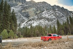 Big Red Truck in Yosemite (jimkerr1961) Tags: yosemitenationalpark halfdome upperyosemitefalls granite flare tunnelview