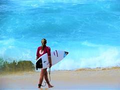 Into the surf (thomasgorman1) Tags: wave sea shore beach sand surfer girl woman surfing blue hawaii canon oahu outdoors sport island