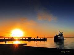 Largs Sunset with Loch Shira1 (g crawford) Tags: crawford ayrshire northayrshire largs clyde riverclyde firthofclyde cumbrae bigcumbrae water sunset sundown gloaming reflect reflection reflected orange yellow calmac macbrayne caledonianmacbrayne ferry lochshira mvlochshira pier light
