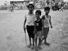 The Team (solas53) Tags: kids people outdoors street blackwhite blackandwhite bw black white monochrome india boys cricket playing circus