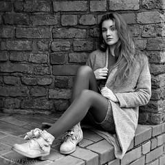 Meeting in the Old Town (piotr_szymanek) Tags: marcelina portrait outdoor blackandwhite woman girl skinny young marcelinab stockings mini skirt eyesoncamera longhair 1k 20f 5k 50f 10k 100f 20k 30k