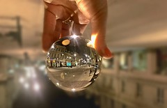 capture the world in palm of your hand ️️... (Eggii) Tags: ball lansball crystalball city street night walk hand project