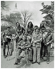 Florida VVAW delegation poses during antiwar protests: 1971 (Washington Area Spark) Tags: vietnam veterans against war vvaw protest demonstration rally march anti indochina encampment national mall washington dc 1971 medals ribbons military ex servicemen civil disobedience florida delegation gainesville 8 republican convention