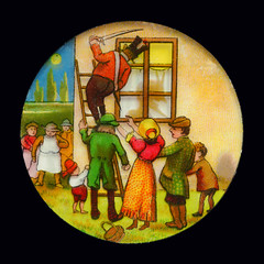 Projektionsbild, Reihe mit dem Teufel im Haus, Bild 3 (altpapiersammler) Tags: alt old vintage laternamagica glas projektion optik unterhaltung licht bild picture dessin szene scene farbig bunt colourful colorful lustig funny comic fenster window