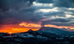 burning sky in a snowy day (lucafabbricesena) Tags: sanmarino sunrise snow winter cloudy landscape morning nature dawn soglianosulrubicone emiliaromagna italy twilight clinging village red sky light