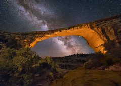 Owachomo Bridge at Night (Wayne Pinkston) Tags: owachomobridge owachomo naturalbridges naturalbridgesnationalmonument arch utah night sky nightsky nightlandscape nightphotography waynepinkston waynepinkstonphotocom lightcrafter lightcraftercom star stars starrynight milkyway galaxy cosmos theheavens astronomy astrophotography landscapeastrophotography widefieldastrophotography nikon wideangle
