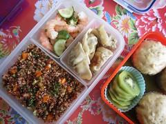 Bento 538 (Sandwood.) Tags: bento lunch lunchbox cooking food meal dish salad quinoa mushipan jiaozi dumplings shrimps vegetables