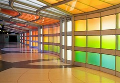 Rainbow Walls (Karen_Chappell) Tags: travel chicago usa airport architecture neon lights rainbow spectrum geometry abstract urban city building wall green orange blue red multicoloured colourful colours colour color white