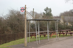Bus Stop & Shelter . North Weald Station , Essex . Wednesday 21st-February-2018 . ( 1 ) (AndrewHA's) Tags: northweald station essex epping ongar railway concrete bus stop tubular steel shelter
