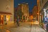 Decumanus St and Pentagonal Tower (fotofrysk) Tags: decumanusst pentagonaltower defensivetower citywall cyclist street bluehour evening nightshot buildings architecture croatia porec istria dalmatiancoast sigmaex1020mmf456dch nikond7100 201710040256
