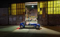 Clubbie (Andrew_Dempster) Tags: warehouse night workshop kilkenny nightshot zebratreeservice bluecar markwiggins birkin sa urban clubman nightlight clubbie lotus7series3reproduction australia southaustralia nightphotography au